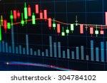 stock market graph on screen... | Shutterstock . vector #304784102