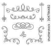 vintage calligraphic vignettes  ... | Shutterstock .eps vector #304786682