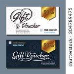 voucher template with premium... | Shutterstock .eps vector #304789475