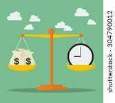 money and time balance on the... | Shutterstock .eps vector #304790012