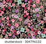 seamless cute flower vector... | Shutterstock .eps vector #304796132