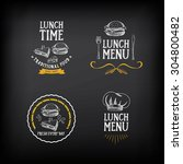 lunch menu logo and badge... | Shutterstock .eps vector #304800482
