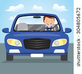 young man driving blue car on... | Shutterstock .eps vector #304805672