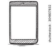 tablet pc hand drawn vector... | Shutterstock .eps vector #304807832