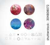 abstract geometric patterns set ... | Shutterstock .eps vector #304808072