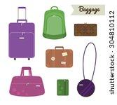 baggage set. travel bag ... | Shutterstock .eps vector #304810112
