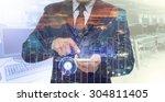 double exposure of businessman... | Shutterstock . vector #304811405