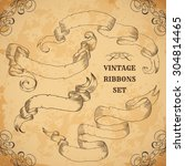 vintage ribbons set. vector... | Shutterstock .eps vector #304814465