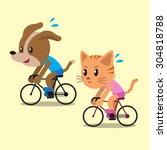 Cartoon A Cat And A Dog Ride...