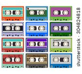 twenty colorful plastic audio... | Shutterstock .eps vector #304824818