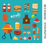 barbecue flat icon | Shutterstock .eps vector #304832138