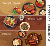 street food web banner  steak   ... | Shutterstock .eps vector #304833728