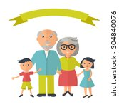 senior grandparents with their... | Shutterstock .eps vector #304840076