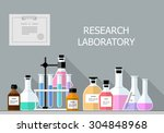 vector set   chemical research... | Shutterstock .eps vector #304848968