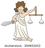 illustration of lady justice ... | Shutterstock . vector #304852652