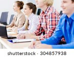 young people sitting in...   Shutterstock . vector #304857938