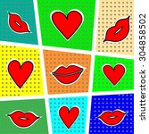 lips and heart on a bright... | Shutterstock .eps vector #304858502
