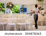 flowers. banquet hall in white  ... | Shutterstock . vector #304878365