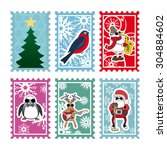 six multi colored stamps for... | Shutterstock .eps vector #304884602