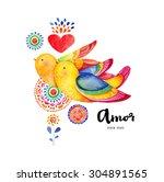 birds in love. bright... | Shutterstock . vector #304891565