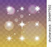 set of vector glowing light... | Shutterstock .eps vector #304897502