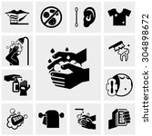 hygiene vector icons set on gray | Shutterstock .eps vector #304898672