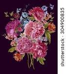 gentle summer floral bouquet... | Shutterstock . vector #304900835