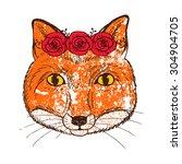 vintage portrait of fox with...   Shutterstock .eps vector #304904705