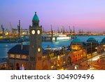 hamburg harbour after sunset ... | Shutterstock . vector #304909496