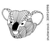 cute head of koala bear on... | Shutterstock .eps vector #304914998
