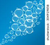 vector shiny bubbles in blue... | Shutterstock .eps vector #304919858