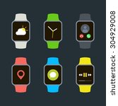 flat smart watch icons isolated ... | Shutterstock .eps vector #304929008