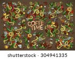 coffee time nature doodles hand ... | Shutterstock .eps vector #304941335