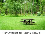wooden bench and table on a...   Shutterstock . vector #304945676