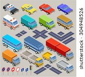 isometric road set. vector | Shutterstock .eps vector #304948526