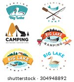 set of vintage camping and... | Shutterstock .eps vector #304948892