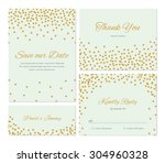 trendy wedding invitation set... | Shutterstock .eps vector #304960328