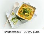 cottage cheese and peas in a... | Shutterstock . vector #304971686
