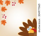 greeting card with turkey in... | Shutterstock .eps vector #304977065