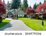 cozy house with beautiful... | Shutterstock . vector #304979336
