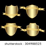 vector set gold framed labels | Shutterstock .eps vector #304988525