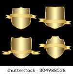 vector set gold framed labels | Shutterstock .eps vector #304988528