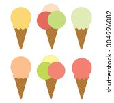set of different ice creams... | Shutterstock .eps vector #304996082