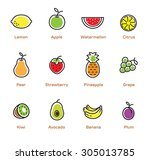 isolated fruits and beries on... | Shutterstock .eps vector #305013785