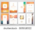 set of brochures in poligonal... | Shutterstock .eps vector #305018522