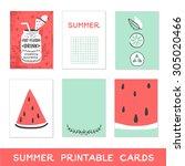 summer printable cards. detox... | Shutterstock .eps vector #305020466