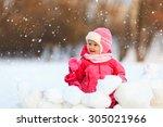 cute happy little girl  play in ... | Shutterstock . vector #305021966