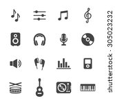 music icons. simple flat vector ...   Shutterstock .eps vector #305023232