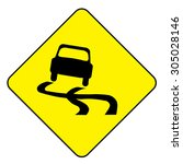 car slippery when wet symbol | Shutterstock . vector #305028146