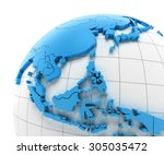 globe of southeast asia with... | Shutterstock . vector #305035472